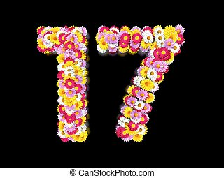 Flower Number Seventeen. Floral Element of Colorful Letters made from Marguerites