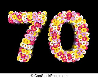 Flower Number Seventy. Floral Element of Colorful Letters made from Marguerites
