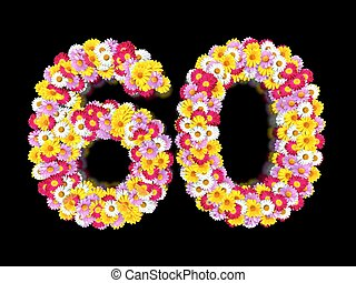 Flower Number Sixty. Floral Element of Colorful Letters made from Marguerites