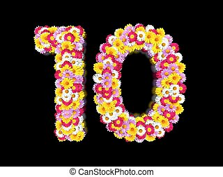 Flower Number Ten. Floral Element of Colorful Letters made from Marguerites
