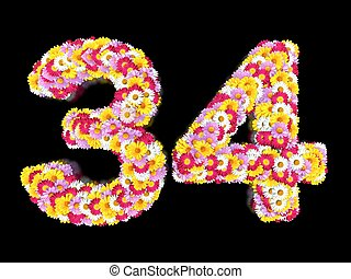 Flower Number Thirty-four. Floral Element of Colorful Letters made from Marguerites