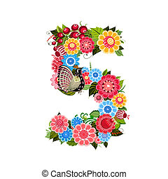 Flower number with birds in Khokhloma style