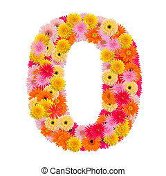 flower number zero. Floral element of colorful alphabet made from gerbera