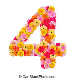 flower numberfour. Floral element of colorful alphabet made from gerbera