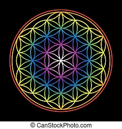 Flower Of Life Bright Glow Colors B