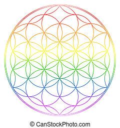 Flower of life, buddhism chakra illustration, rainbow...