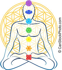 Meditating man with the seven main chakras, which match perfectly onto the junctions of the Flower-of-Life-Symbol in the background.