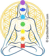 Flower Of Life Chakras Woman - Meditating woman with the...