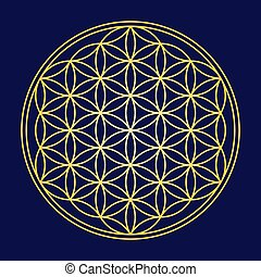 Flower of Life Gold Color - Flower of Life - Gold on dark...