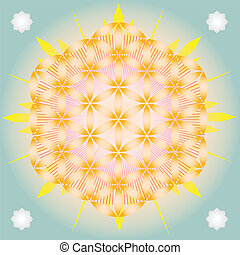 Flower of life in blue space