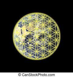 Flower of life on Eastern hemisphere of Earth - Flower of...