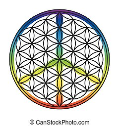 Flower of life and peace sign combined into one symbol. Isolated vector illustration on white background.