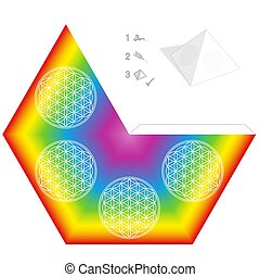 Flower Of Life Pyramid Template Paper Model Rainbow Colors