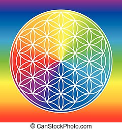 Flower of Life represented as a luminous rainbow color wheel. Vector illustration.