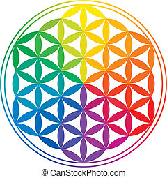 Flower Of Life with rainbow colors, a geomtrical figure, composed of multiple evenly-spaced, overlapping circles. A decorative motif since ancient times, forming a flower-like pattern with the symmetrical structure of a hexagon.