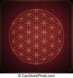 Flower of life. Sacred geometry, vector symbol.