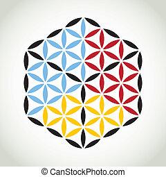 flower of life symbol color cube - illustration