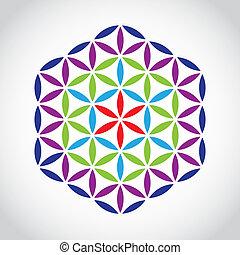 flower of life symbol color variations - illustration
