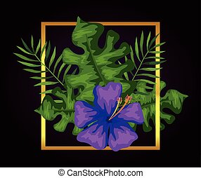 flower of purple color with branches and leafs in square frame