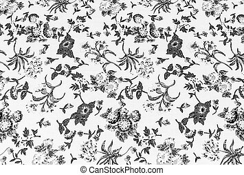flower on fabric background, gray colour.