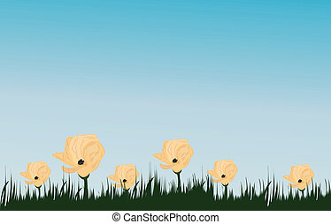 flower on field and blue sky