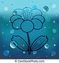 Flower on glass and water drop.EPS10