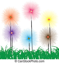 Flower on grass on white background