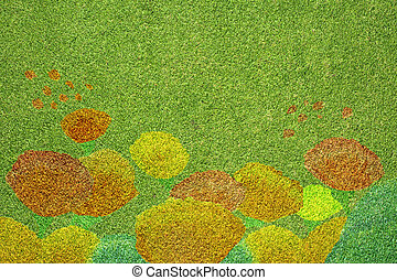 Flower on Green grass texture and background