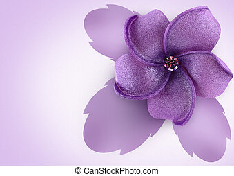 Artificial flower on lilac background