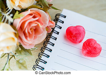 flower on note and toffee vintage style, valentine concept