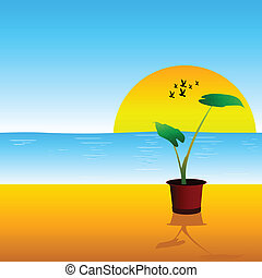 flower on the beach vector