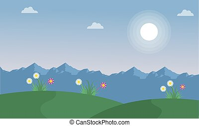 Flower on the hill spring landscape