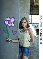 flower on the wall
