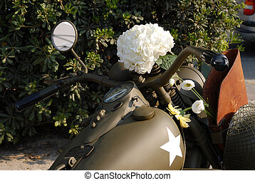 flower on the world war two motorcycle