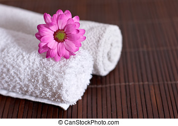 flower on towel - Flower on towel.