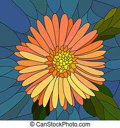 Flower orange aster. - Vector mosaic with large cells of...