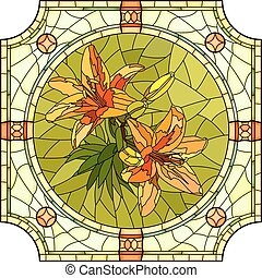 Flower orange lilies. - Vector mosaic of brightly orange...