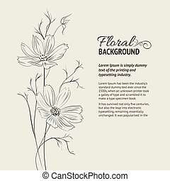 Flower over sepia background. Vector illustration, contains...