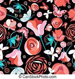 Flower pattern and butterflies