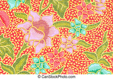 flower pattern background on batik fabric.