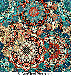 Flower pattern brown blue background