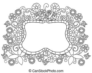 Flower pattern coloring vector for adults