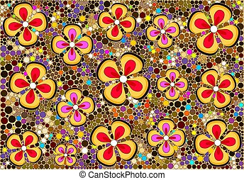Flower pattern - Pattern with flowers and circles.