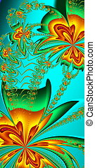 Flower pattern in fractal design. Orange and green palette....