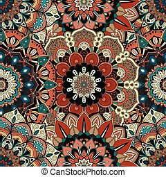 Flower Pattern Intricate Boho - Vector flower background....