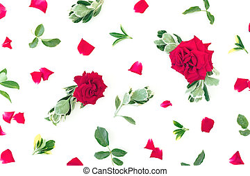 Flower pattern of red roses flowers and green leaves on white background. Flat lay