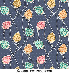 Flower Pattern - Retro Seamless Decorative Abstract...