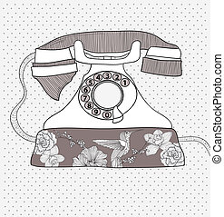 Flower pattern retro telephone - Background with retro...