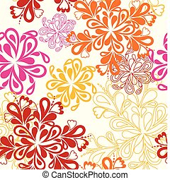 illustration drawing of beautiful orange, pink and red flower. Seamless vector