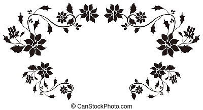 flower pattern - illustration drawing of beautiful black...
